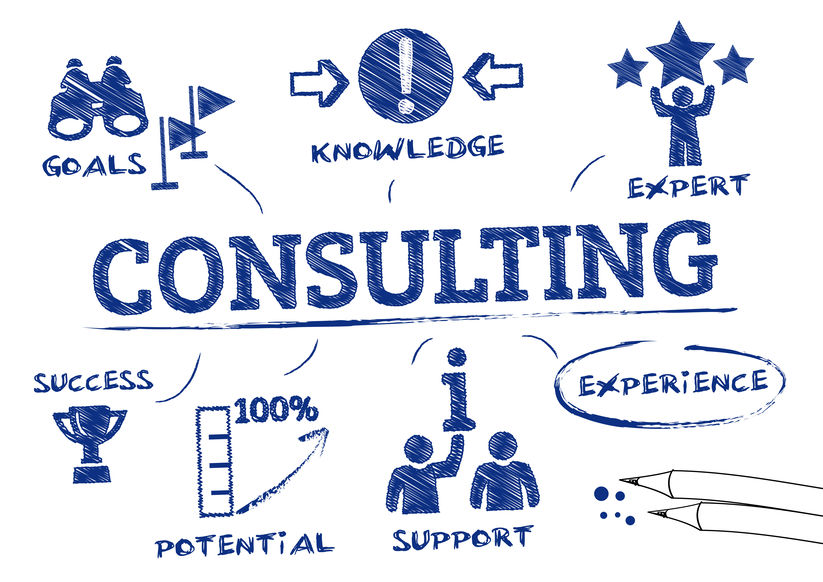 Consulting concept. Chart with icons and Keywords
